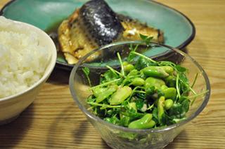 豆サラダ。春の到来の喜びを全力で感じられる豆苗のうまい食べ方筆頭。
