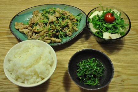 豆苗と豚肉の炒め物、豆苗サラダ、豆苗の胡麻和えの、豆苗定食です。筆舌に尽くしがたい美味さ。