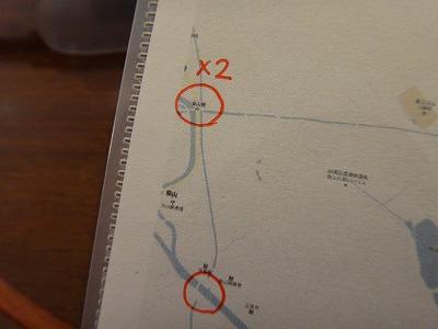 事前準備した地図にも「×2」の目印が