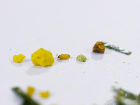 のりたまをよく見ると(右から)海苔、茶色、緑、ゴマ、タマゴ、黄色の小さいの、に分かれている。さあ、これをどうやってランダムに選ぶか!?