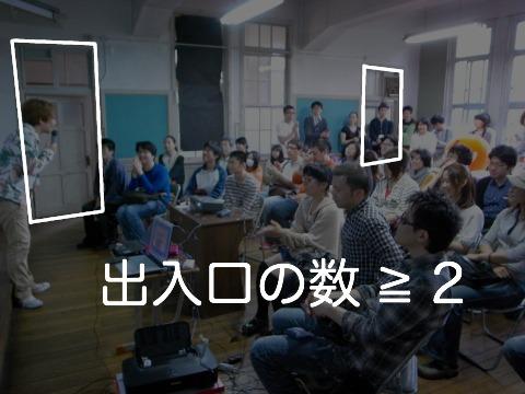 「学校の教室等には(中略)二以上の出入口を設けなければならない」(東京都建築安全条例 第13条)