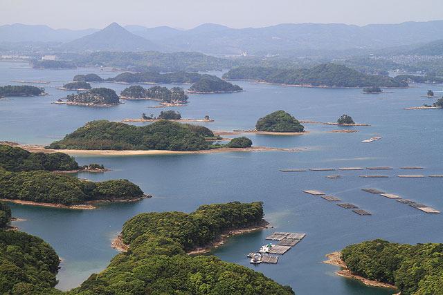 九十九島の島々がこんなによく見える。