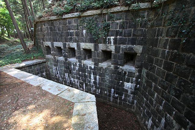 堀に進入してきた敵を狙い撃つためのもの。「側防窖室(そくぼうこうしつ)」と言うらしい。こんなの初めて見たわ…。