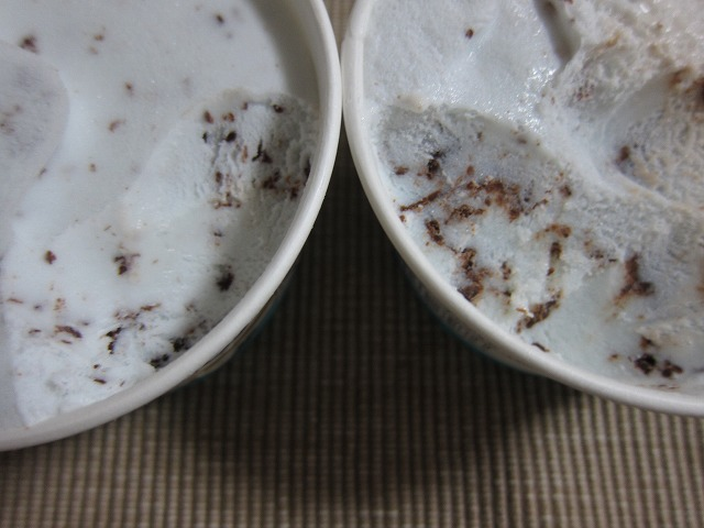 ヒキの比較写真撮り忘れました。左:溶ける前、右:再冷凍