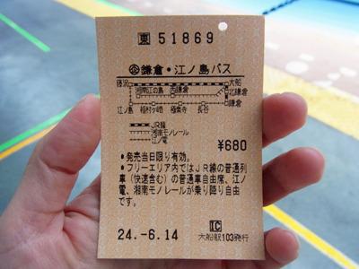 大船から江ノ島間の1日フリーパス。以前は2日間有効で都内からも買えたんだけどな。