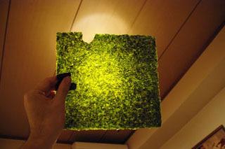 焼き海苔。光に透かすと緑がかった黒。全体的に薄くて軽め。ふわんと磯の香りがする。曲げるとパキリと割れます。