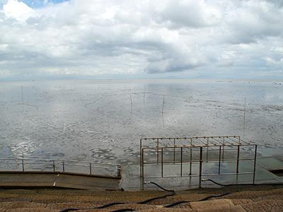 練習から本番までの間に大雨が降っていたけれど、ちゃんと潮が引いてくれた。海、広い。