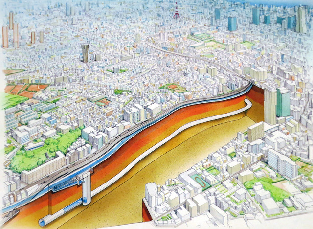 東京都建設局パンフレット「古川地下調節池」の表紙より。にょろり。