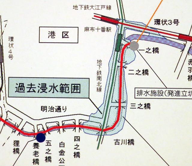 麻布十番の駅付近って、過去に浸水しているそうだ。(東京都建設局パンフレット「古川地下調節池」より)