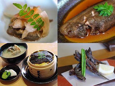 有明海のお任せ料理。ムツゴロウは唐揚げが好みでした。