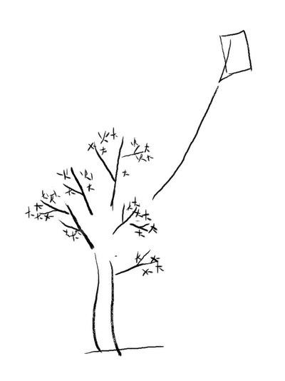 凧の垂れる紐が木の幹に。