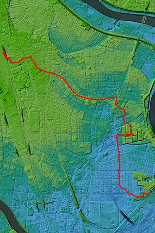 同じログを「東京地形地図」にのせると…!