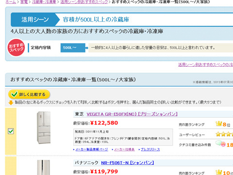 全員このページを見てた価格.comのおすすめページ (画像は価格.com「容積が500L以上の冷蔵庫」おすすめページ)