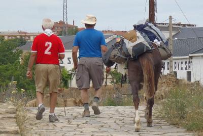 馬を引き連れて歩く巡礼者