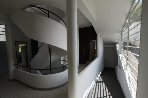 内部は螺旋階段とスロープで階を行き来する