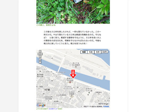当初はこの地図にサボが落ちていた場所もマッピングされていた。