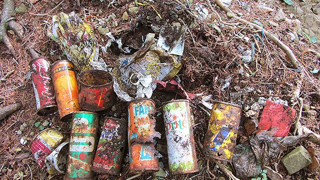 山頂付近はゴミが大量に埋まってました。