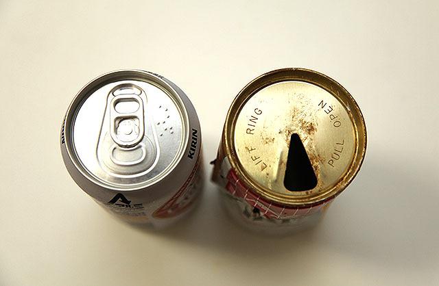 両方ともキリンラガービール。21世紀の缶は確実に洗練されている。