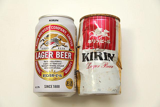 同じラガービールだが、デザインはもう全然違う。麒麟のデザインもかなり簡略されている。昔のキリンビールはあまりデザインする気が無かったんですかね。それとも、これが当時は超クールだったのか。