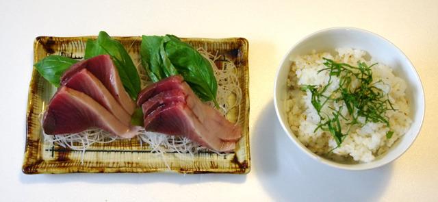 ジェノバで食べたい、カツオ刺身定食。