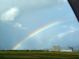 今まで見た中で一番大きな虹が出ていた。