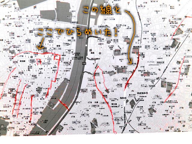 「この街では無理かなー」ってあきらめかけた頃に、浅草の北側にふと放射状の道筋があって、そこに描き込んだ線と、東武伊勢崎線の曲線がひらめきを与えてくれた!