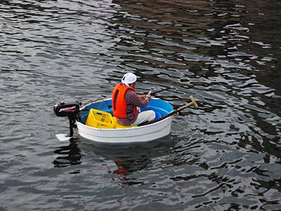 佐渡名物たらい舟(エンジン付き!)が普通に港として使っていた。