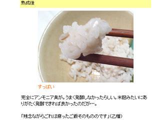 腐ったご飯そのものというコメント。「いろんなもので納豆を作る」(2004年2月)