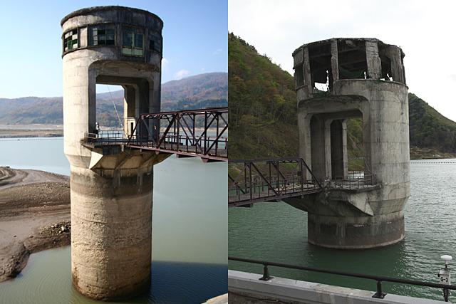 このダムのマスコット、排水塔はめちゃめちゃに破壊された