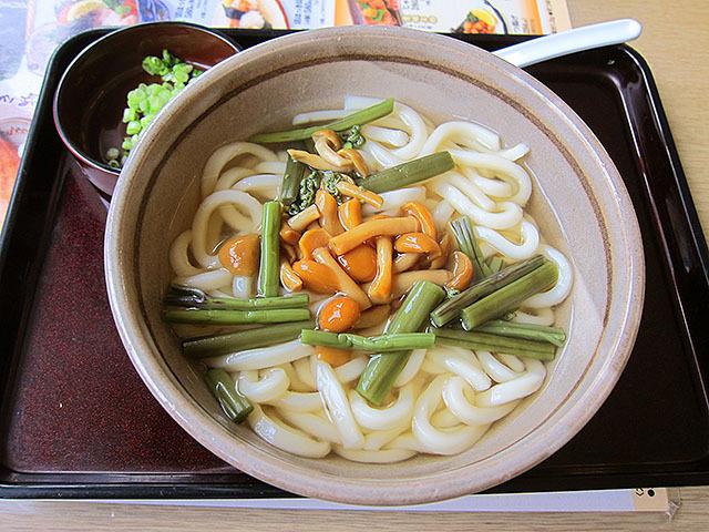 温かいうどんもうまい。これは山菜うどんで525円。