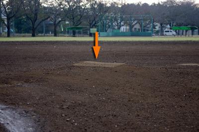 マウンドが大地を、野球場と他のものへと分けた。