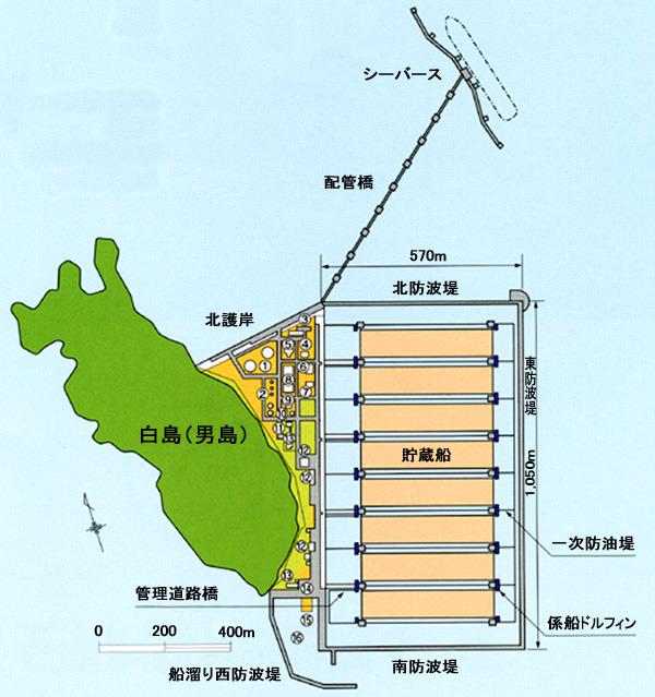 まず全体が防波堤に囲まれ、その内側に防油堤、さらに貯蔵船自体が二重構造になっている(白島石油備蓄株式会社ウェブサイト</a>より)