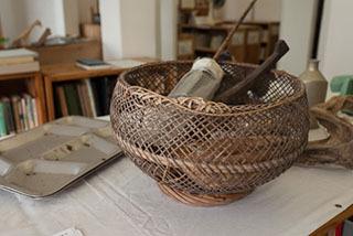 芭蕉布を織る糸を紡ぐのにも使われていた道具たち