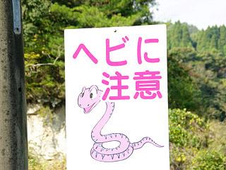 この看板を見つけて、喜んで車を止めるのが蛇狩りツアー。
