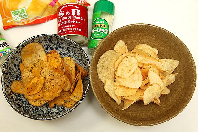 カレー海苔しお味なんていう、実際には無い味付けも可能。右はガーリックパウダーでニンニク味。ハートチップルみたいで美味い。