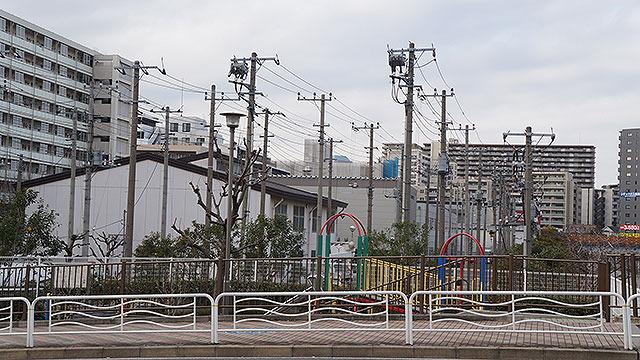 細長い広場にすごい数の電柱が。