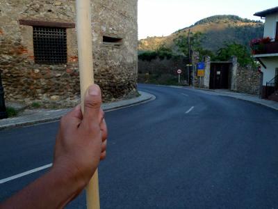 杖を突き、足を引きずりながら山を越えた