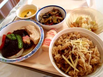 シジミご飯と豚の角煮的なもの