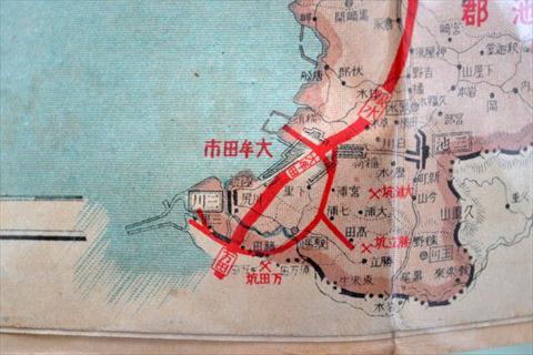 赤線が鉄道。大牟田市内をぐるりと取り囲むように列車が走ってた(駸々堂 日本府縣管内地圖 福岡縣)