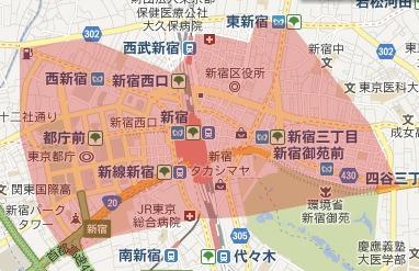 東新宿は新宿だが、大久保に近づくと大久保になる。四谷四丁目のモスバーガーの向こうは新宿。十二社も新宿。(林さん)