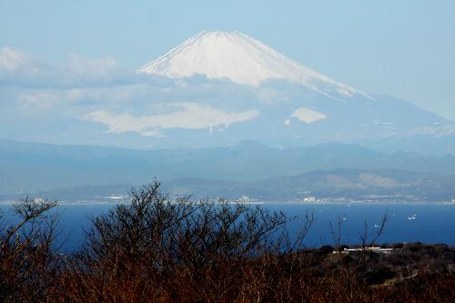 まず目に入るのは相模湾越しの富士山