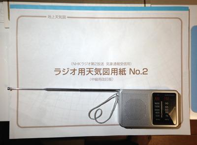 天気図用紙と小型ラジオ。