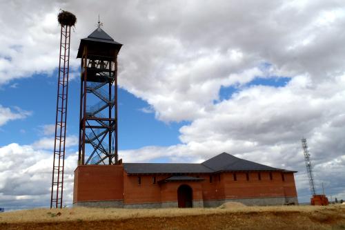 教会はまだ未完成でも、隣に立つ人工巣塔には既に巣が