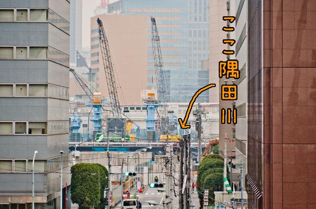 こっちがわにはこっちがわで、また隅田川がある。ほんと、架けなきゃいけない橋がたくさんあるのだなあ、環2。