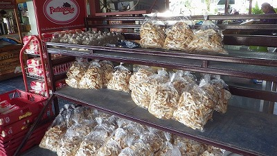 入口には大量の米ぬかとパンの耳。