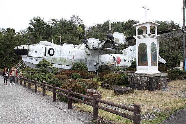 自衛隊の航空機がなぜか置いてあった。