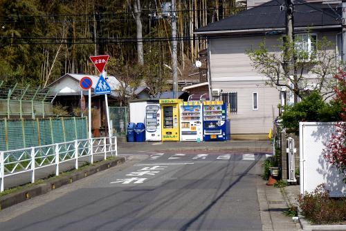 普通の自販機と共に並ぶ「湘南クッキー」の自販機