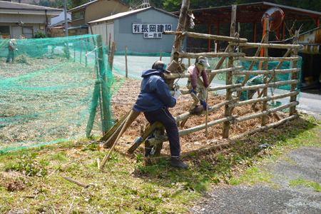 柵を組み立てる男性、そしてその柵に登る子供も