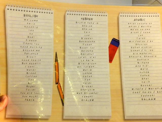ヘブライ語と英語の対応表…なんだけれども背景の鉛筆が無残に割れているのはなぜだ