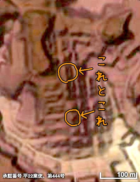 地形図でみると、この菱形鉄ラの「盛り土」とまわりとの関係がわかる(「横濱時層地図</a>」の5mメッシュ地形図表示をキャプチャ)